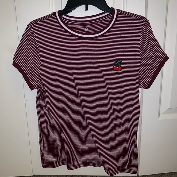 "SO Tops - Kohl's ""So"" Brand Cherry Embroidered Shirt"